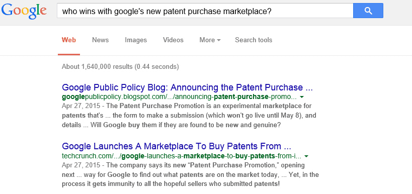 google patent purchase marketplace on LawFuel