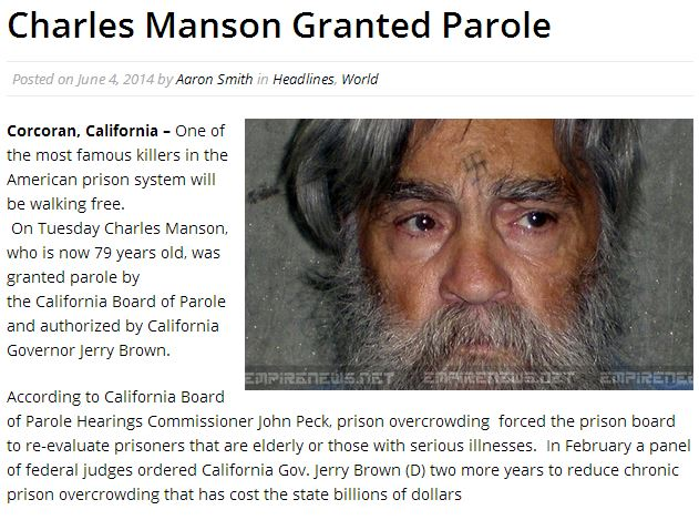 The Charles Manson Murders, Parole and Hoax 2
