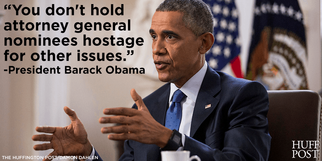 "Obama Attacks Over Holding Attorney General Nominee ""Hostage"" 1"