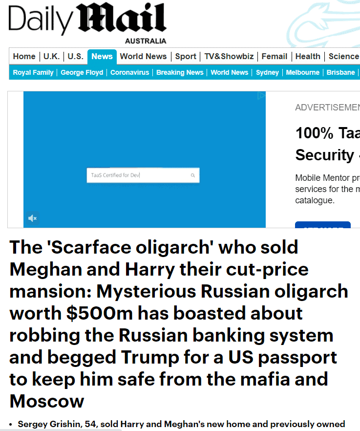 The Odd Tale of the Scarface Oligarch, Meghan Markle, Prince Harry, The Mansion and Chapman Tripp 5