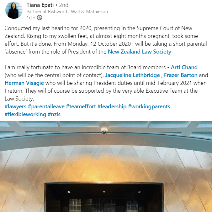 Parental Leave Calls Tiana Epati From NZ Law Society Role 16